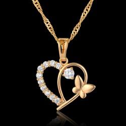 Collier coeur de cristal strass