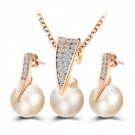Parure d'orée, cristal et perle