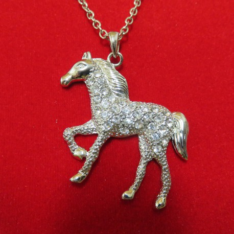Collier long pendentif cheval strass