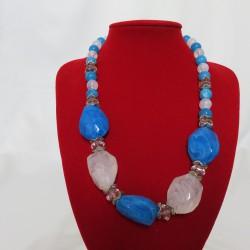Collier pierres bleues et blanches