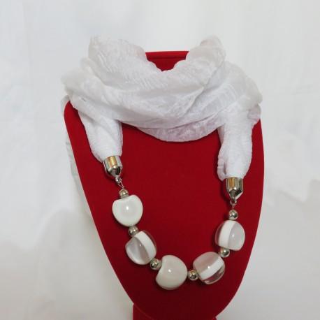 Collier foulard blanc bijoux blanc