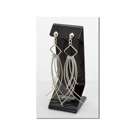 Boucles d'oreilles à clou pendantes métal argenté