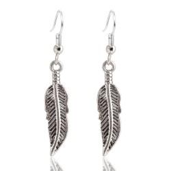 Boucles d'oreilles plumes argentée