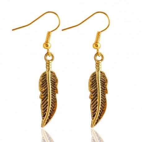 Boucles d'oreilles plumes dorées
