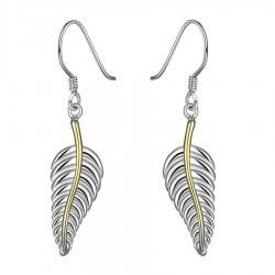 Boucles d'oreilles plumes dorées et argentées