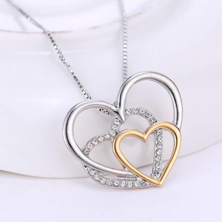Collier coeur argenté, doré avec strass