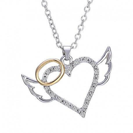 Collier coeur argenté avec auréole dorée