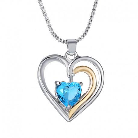 Collier coeur argenté et doré avec strass bleu